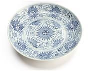 Sale 8517A - Lot 48 - A Qing porcelain plate with peony design, D 19.5cm