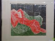 Sale 8557 - Lot 2019 - Artist Unknown Reclined Nude colour linocut ed. AP, 41.5 x 47cm,