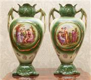 Sale 8649A - Lot 31 - A pair of Victorian mantel vases with printed scenes of classical ladies at play, height 31cm