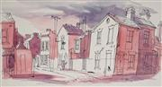Sale 8821 - Lot 504 - Kenneth Jack (1921 - 2006) - Street Scene and Terrace Houses, 1948 19.5 x 36cm