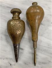 Sale 8951P - Lot 331 - Vintage Brass Plumb Bobs x 2(largest - 140cm)