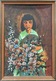 Sale 9045 - Lot 2033 - Retro Latin American Style Painting of a Flower Girl (H83 x W58cm) -