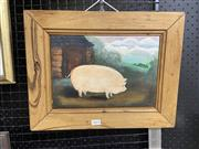 Sale 9050 - Lot 2015 - Artist Unknown, The Pig, oil oil board, 33 x 42 cm (frame), unsigned