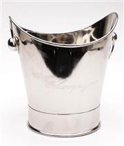 Sale 9060 - Lot 29 - A Chrome Twin Ring Handle Champagne Bucket (H 25cm W 24cm)