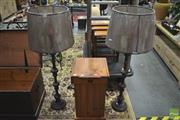 Sale 8289 - Lot 1037 - Pair of Metal Column Form Standard Lamps (5780)