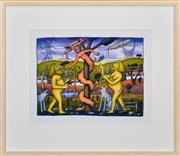 Sale 8408 - Lot 502 - Reg (Chris ODoherty) Mombassa (1951 - ) - The Temptation (Hunter Valley) 28.5 x 38.5cm