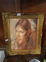 Sale 8595 - Lot 2097 - Portrait - Oil On Board