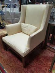 Sale 8637 - Lot 1030 - Pair of Cream Leather Wingback Armchairs with Studded Trim