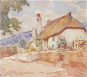 Sale 8722 - Lot 596 - Harold Septimus Power (1878 - 1951) - Untitled (Thatched Roof Cottage) 24 x 28.5cm