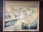Sale 8776 - Lot 2062 - John Hirley - Cityscape oil on canvas board, 55 x 66cm (frame), signed -