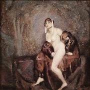 Sale 9047 - Lot 545 - Norman Lindsay (1879-1969) - The Fur Coat 23 x 23 cm (frame: 66 x 66 x 4 cm)