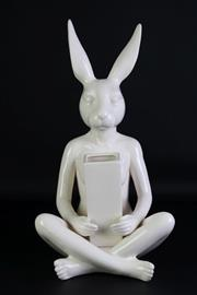 Sale 8935 - Lot 48 - A Gillie and Marc Seated Rabbit Girl holding a Ceramic Vase (H 43cm)