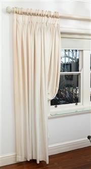 Sale 8990H - Lot 43 - A pair of cream striped and lined curtains together with a white painted curtain holder rings, Height 250cm x Length of pole 330cm