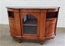 Sale 9097 - Lot 1093 - Victorian Figured Walnut & Marquetry Credenza, with later top, bow front with central glass panel door, flanked by open shelves & bo...