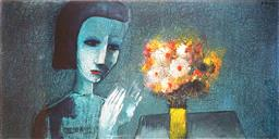 Sale 9161A - Lot 5038 - CHARLES BLACKMAN (1928 - 2019) - Girl & Flowers 100 x 199.5 cm (frame: 112 x 212 cm)