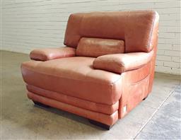 Sale 9146 - Lot 1071 - Leather club chair, marked Pierre Delon (h:90 w:106 d:96cm)