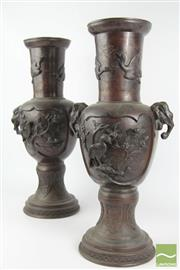 Sale 8516 - Lot 49 - Japanese Pair of Bronze Vases