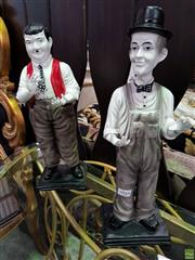 Sale 8580 - Lot 1034 - Laurel and Hardy Statues (H: 43.5cm)