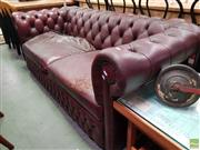Sale 8601 - Lot 1126 - Burgundy 2 Seater Chesterfield