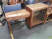 Sale 8601 - Lot 1558 - Timber Hall Table with Glass Panel Door & Single Door