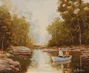 Sale 8622 - Lot 2023 - William Kennedy Mitchell (1925 -) - Fishing at Kangaroo Creek (Bundeena) 24.5 x 29.5cm