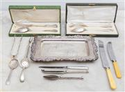 Sale 8644A - Lot 36 - A rectangular footed silver plated tray by Viners for Sheffield, length 28cm, together with assorted EP cutlery, and two boxed sets...