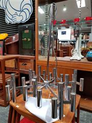 Sale 8741 - Lot 1070 - Contemporary Chrome 8 Arm Chandelier with 48 Bulbs