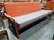 Sale 8801 - Lot 1027 - Vintage Teak Click Clack 3 Seater Lounge