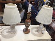 Sale 8822 - Lot 1781 - A Pair of Marble Lamp Bases Together with A Stone Example