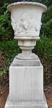 Sale 8950G - Lot 26 - Large grc urn on plinth 1.7m Height