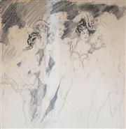 Sale 9047 - Lot 546 - Norman Lindsay (1879 - 1969) - Gaiety Girls 52.5 x 50.5 cm (frame: 83 x 79 x 3 cm)