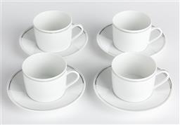 Sale 9255H - Lot 14 - A set of 4 Vertigo by Andree Putman for Christofle coffee cups and saucers in white porcelain edged in platinum.