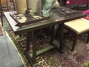 Sale 8637 - Lot 1070 - Pair of Timber Side Tables with Glass Insert Top