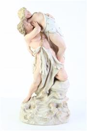 Sale 8810 - Lot 15 - German Rudolstadt Porcelain Figure Group Possibly Depicting Hercules