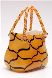 Sale 9060 - Lot 18 - Murano style ribbon trailed golden amber cased glass handbag vase (H29cm)