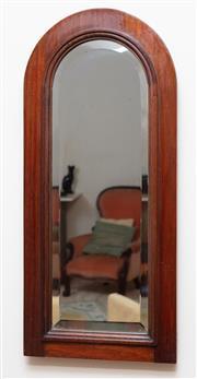 Sale 9071H - Lot 11 - An arch form oak framed bevelled edge mirror, Height 59cm x Width 27cm