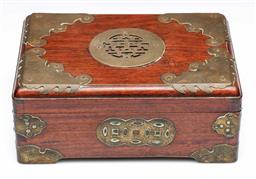 Sale 9093P - Lot 44 - Chinese Rosewood and Brass Lidded Box, 9 x 22 x 15cm.