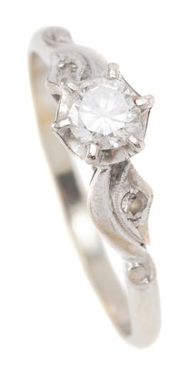 Sale 9160 - Lot 360 - AN 18CT WHITE GOLD SOLITAIRE DIAMOND RING; claw set with an approx. 0.27ct, SI round brilliant cut diamond in a gold and palladium c...
