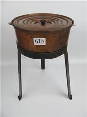 Sale 8431A - Lot 618 - Adjustable Sized Early Copper Steam Bath on a Raised Metal Stand