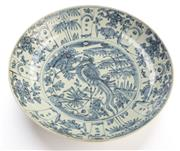 Sale 8517A - Lot 57 - A possibly Ming Swatow porcelain charger with stork design, D 36.5cm
