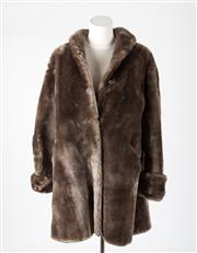 Sale 8541A - Lot 89 - A vintage Bensky 3/4 length mocha faux fur coat, size L