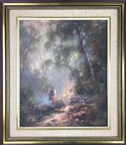 Sale 8589R - Lot 59 - Raymond Ward Thompson -Oil on Board (29 x 24cm)