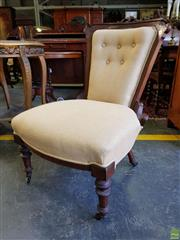 Sale 8601 - Lot 1056A - Late Victorian Carved Walnut Ladys Chair, upholstered in buttoned cream fabric & on turned legs