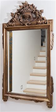 Sale 8703A - Lot 5 - A decorative beveled edge mirror in a timber frame carved with urn, acanthus and fruiting vine decoration to surmount, H x 140c,cm,...