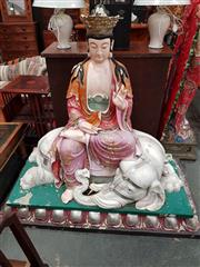 Sale 8700 - Lot 1033 - Large Fibreglass Chinese Figure Seated on Elephant