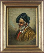 Sale 8838A - Lot 5180 - Artist Unknown - Man with Pipe 23.5 x 18.5cm