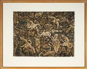 Sale 9087 - Lot 2006 - Vivienne Littlejohn (1948 - 2003) Ptahhotpe Study II, 1994 colour wood cut on Japanese Mulberry paper, ed. 1/6 (frame: 73 x 91 x 4...