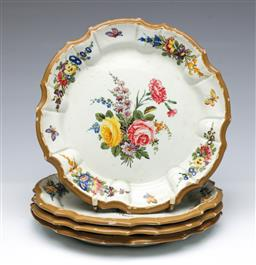 Sale 9093P - Lot 83 - Four Antique Nove Majolica Plates with Flowers (Two with Cracks), dia. 23cm.