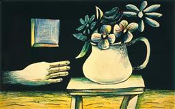 Sale 9161A - Lot 5029 - CHARLES BLACKMAN (1928 - 2019) - Hand & Vase of Flowers 100 x 162.5 (frame: 112 x 177 x 3 cm)