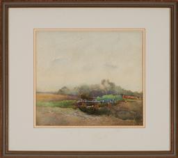 Sale 9155 - Lot 2001 - JOHN ROY ELDERSHAW (1892 - 1973) - Bridge Crossing 23 x 26 cm (frame: 40 x 45 x 3 cm)